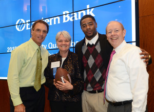 Doug Flutie, Engaging Schools' Elaine Lamy, Malcolm Butler, and Richard Holbrook, CEO of Eastern Bank